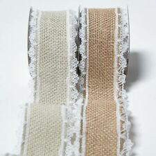 Jute Hessian Burlap Lace Edge Ribbon Vintage Wedding Rustic Craft Ribbon