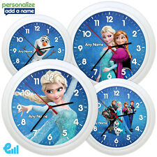 NEW Disney Frozen Wall Clock Personalised Gift Elsa Olaf Kids Bedroom ADD NAME