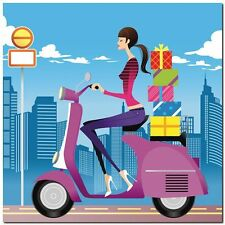 Quadro Eastnine 'Shopping in scooter'  Stampa su Tela Canvas
