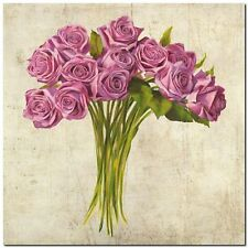 Quadro Leonardo Sanna  'Bouquet di Rose'  Stampa su Tela Canvas