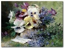 Quadro Furcy de Lavault 'Pansies and Forget Me Not ' Stampa su Tela Canvas