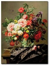 Quadro Henri Robbe 'Peonies, Poppies and Roses ' Stampa su Tela Canvas
