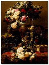 Quadro Jean-Baptiste Robie 'Flowers and fruit' Stampa su Tela Canvas