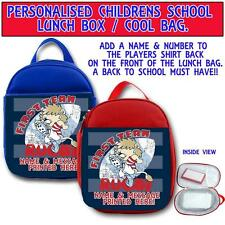 PERSONALISED LITTLE RUGBY 1ST TEAM CHILDRENS SCHOOL LUNCH BOX COOL BAG ST253