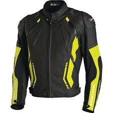 RICHA MUGELLO LEATHER MOTORCYCLE JACKET CE APPROVED ARMOUR - BLACK / YELLOW