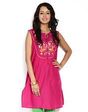 Urban Purple's Pink Sleeveless Kurti With Embroidery for Women (UCEK011)