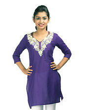 Urban Purple's Purple 3/4 Sleeves Kurti With Embroidery for Women (UCEK020)