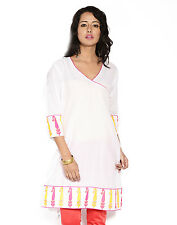 Urban Purple's White 3/4 Sleeves Kurti With Embroidery for Women (UCEK016)
