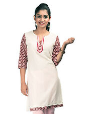 Urban Purple's White 3/4 Sleeves Sweet Heart Neck Line Kurtis for Women (UCK033)