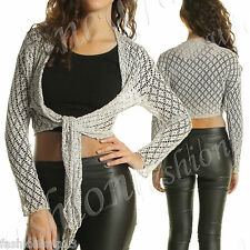 NEW WOMEN LADIES KNITTED CROPPED TIE UP BEACHWEAR CARDIGAN KNITWEAR SHRUG BOLERO