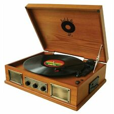 RETRO DESIGN 3-SPEED WOODEN TURNTABLE VINYL RECORD PLAYER USB/SD/iPOD/MP3 PLAYER