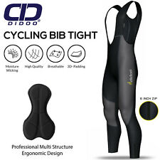Mens Cycling Bib Tights Padded Thermal Long Leggings MTB Winter Bike Trouser
