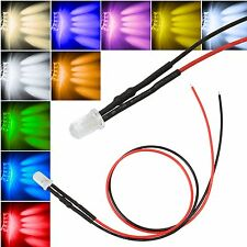 10 x 5mm LEDs con 25cm Cable 12 VOLTIOS DC / LED CABLEADO Listo 12V, CABLE WIRED