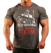 BORN IN THE GYM CHARCOAL BODYBUILDING T-SHIRT WORKOUT GYM CLOTHING J-116