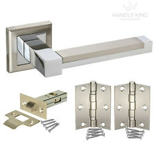 Square Internal Chrome Door Handle Packs - Duo Polished & Satin Chrome