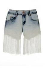 Ladies Womens Willow Crochet Tassel High Waist Denim Shorts Hotpants Acid Wash