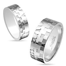 "Set of 2-Shared ""Love""Checkered Stainless Steel Couple Rings/Womens&Mens(3179x2)"
