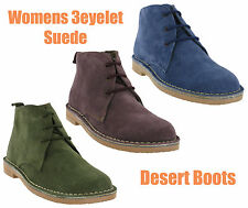 Roamers Desert 3 Eye Suede Leather Womens Lace Up Classic Boots UK 3-8