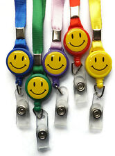 Smiley Face Neck Strap Lanyard with Retractable Reel YoYo ID Badge Hold Clip M2