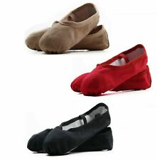 GIRLS WOMENS DANCE BALLET CANVAS SHOES KIDS SLIPPERS FLATS - BLACK RED PINK NUDE