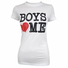 House of Mental Ladies Boys Love Me T Shirt, White