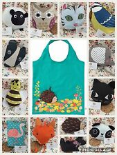 SASS & BELLE REUSEABLE FOLDAWAY ECO BAG OWL FOX SHEEP BADGER  PANDA KEYRING GIFT