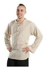 Chemise col mao manches longues beige chanvre Hakido - Neuf
