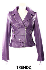Mujer BRANDO LILA Hide Estilo Motero Moto Real Leather Chaqueta