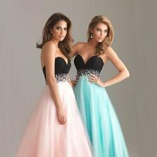 Womens V Neck Jewel Long Prom Cocktail Evening Bridesmaid Dress Formal Gown G89