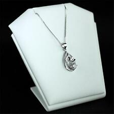 925 STERLING TEARDROP FLOWER PENDANT WITH CUBIC ZIRCON AND CHAIN NECKLACE