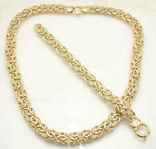 Bold Textured Byzantine Bracelet Chain Necklace Set Real 14K Yellow Gold QVC