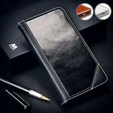 GENUINE LEATHER REAL COW-HIDE HANDCRAFTED WALLET FLIP CASE COVER WITH STAND