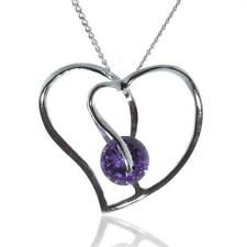 925 STERLING SILVER HEART PENDANT WITH PURPLE CUBIC ZIRCONIA AND CHAIN NECKLACE