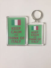 KEEP CALM AND THINK OF ITALY  Keyring or Fridge Magnet GIFT PRESENT IDEA