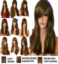 AUBURN GINGER Wig Natural Long Curly Straight Wavy Women Party Ladies Wig UK