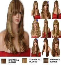 Brown Highlight Natural Long Curly Straight Wavy Women Party Ladies Hair WIG UK