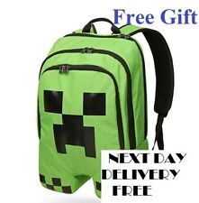 Minecraft Backpack School bag Boys Green Creeper Waterproof FREE Key Chain