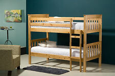 Wooden Bunk Bed Solid Pine Ivory split into 3FT Singles with Mattress options