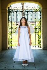 Sequined Organza Overlay Holy First Communion Flower Girl Dress Wedding Formal