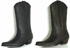 JOHNNY BULLS WESTERN COWBOY STYLE PREMIUM LEATHER BOOTS Style 9633Black or Brown