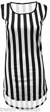 New Womens Ladies Curved Hem Striped Print Sleeveless Tops T Shirts UK 8-14