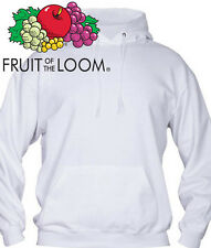FELPA HOODIE UOMO COTONE FRUIT OF THE LOOM BIANCA SPORT PALESTRA FITNESS BOXE