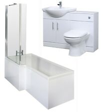 Shower Bath, Vanity Cabinet Unit, Basin & BTW Toilet Bathroom Furniture Suite