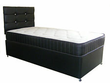 4FT BY 6FT SHORTY BED BLACK FAUX LEATHER DIVAN BED AND MATTRESS, BASE MATTRESS