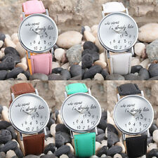 Women's Fashion With Cute Pattern Leather Band Casual Analog Quartz Wrist Watch