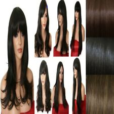 DARK Brown Ladies Wig Natural Long Curly Straight Wavy Women Full Ladies Wig UK