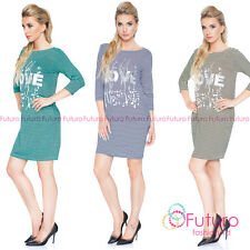 Ladies Striped Mini Dress Love Print 3/4 Sleeve Casual Party Sizes 8-12 6578