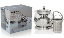 SABICHI GLASS TEAPOT REMOVABLE INFUSER STAINLESS STEEL MIRROR FINISH TEA POT