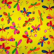 "Yellow Dragonfly Printed poly cotton Fabric 115cm 45"" wide sold by metre"