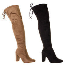 Women's Thigh High Faux Suede Tie Back Stretchy Over-The-Knee Boots Ladies Long